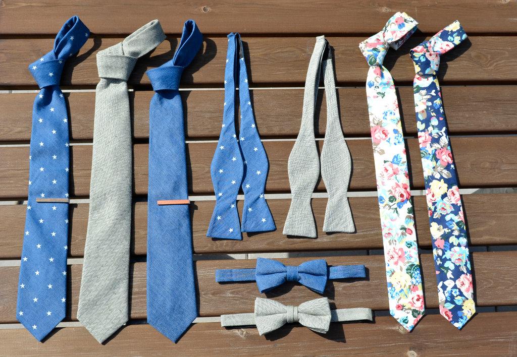 Krawatten & Fliegen aus Leinen, Baumwolle und Denim